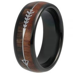 COI Black Tungsten Carbide Wood Ring With Arrows-TG319BB