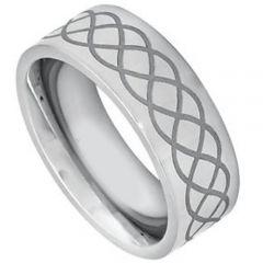 COI Tungsten Carbide Celtic Pipe Cut Flat Ring-TG3213