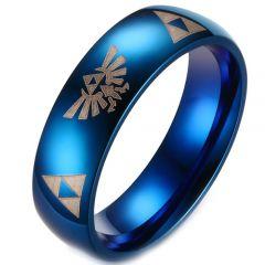 COI Blue Tungsten Carbide Legend of Zelda Dome Court Ring-TG3229