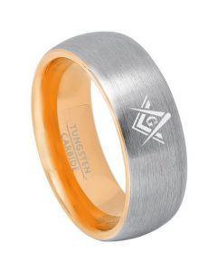 *COI Tungsten Carbide Gold Tone Silver Masonic Ring-TG3240
