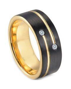 COI Titanium Black Gold Tone Ring With Cubic Zirconia-3249
