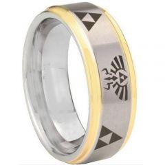 COI Tungsten Carbide Gold Silver Legend of Zelda Ring-TG3321