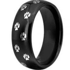COI Black Tungsten Carbide Paws Track Dome Court Ring-TG3366