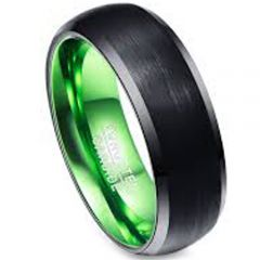 COI Tungsten Carbide Black Green Beveled Edges Ring-TG3386