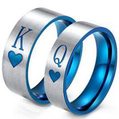 COI Tungsten Carbide Blue Silver King Queen Heart Ring-TG3428