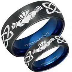 *COI Tungsten Carbide Black Blue Mo Anam Cara Celtic Ring-TG3447