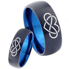 COI Tungsten Carbide Black Blue Infinity Heart Ring-TG3449