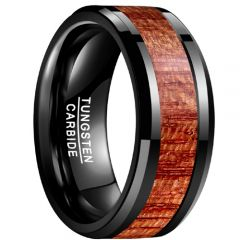 COI Black Tungsten Carbide Wood Beveled Edges Ring-TG3485