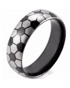 COI Tungsten Carbide Black Silver Soccer Pattern Ring-TG3490