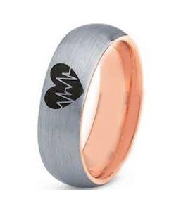 COI Tungsten Carbide Rose Silver Heart & Heartbeat Ring-TG3496