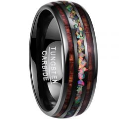 COI Black Tungsten Carbide Wood & Crushed Opal Dome Court Ring-TG3498