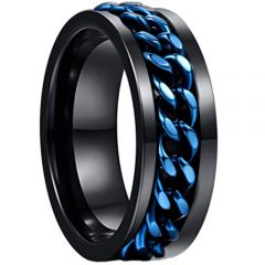 COI Tungsten Carbide Black Blue Wire Center Ring-TG3515