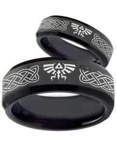 COI Black Tungsten Carbide Legend of Zelda Celtic Ring-TG3561