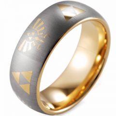 COI Gold Tone Tungsten Carbide Legend of Zelda Dome Court Ring-TG3564