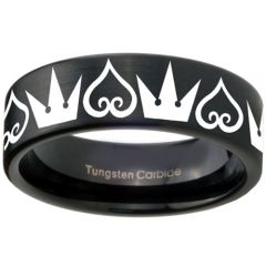 COI Black Tungsten Carbide Kingdom & Heart Ring-TG3580