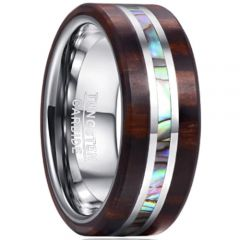 COI Tungsten Carbide Abalone Shell & Wood Flat Ring-TG365