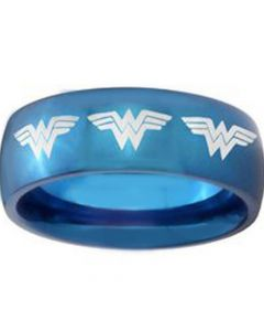 COI Blue Tungsten Carbide Wonder Woman Dome Court Ring-TG3685