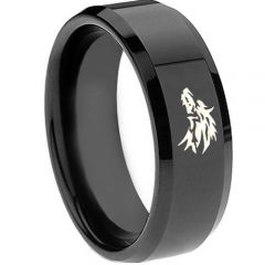 COI Black Tungsten Carbide Wolf Beveled Edges Ring-TG3688