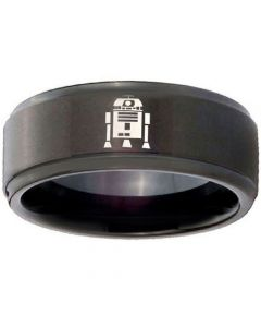 COI Black Titanium R2D2 Step Edges Ring-3742