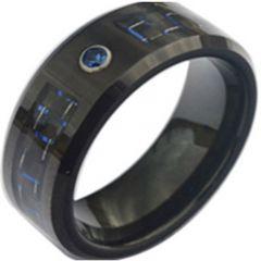 COI Black Tungsten Carbide Carbon Fiber & Zirconia Ring-TG3748