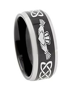 COI Tungsten Carbide Mo Anam Cara Celtic Beveled Edges Ring-TG374