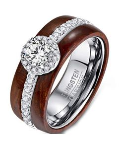 COI Tungsten Carbide Wood Ring With Cubic Zirconia-TG377BB