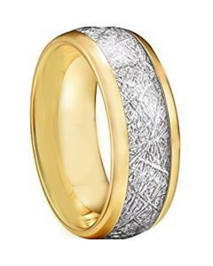 COI Gold Tone Tungsten Carbide Meteorite Dome Court Ring-TG2593A