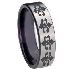 COI Tungsten Carbide Black Silver Fleur De Lis Ring-TG3889