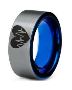 COI Tungsten Carbide Blue Silver Heartbeat & Heart Ring-TG388