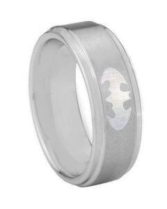 COI Tungsten Carbide Batman Step Edges Ring-TG3890