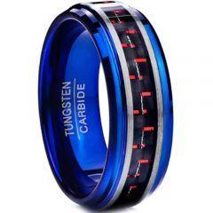 COI Tungsten Carbide Blue Silver Ring With Carbon Fiber-TG3898
