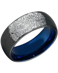 COI Tungsten Carbide Ring With Custom Fingerprint-TG3907