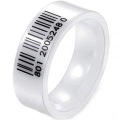COI White Ceramic Barcode Pipe Cut Flat Ring-TG3948