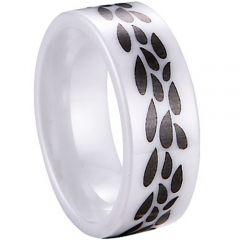 COI White Ceramic Pipe Cut Flat Ring - TG3969