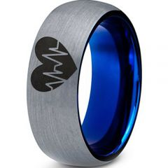 COI Tungsten Carbide Blue Silver Heartbeat & Heart Ring-TG3977