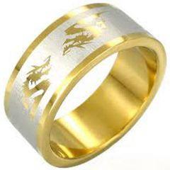 COI Tungsten Carbide Gold Tone Silver Dragon Ring-TG3989