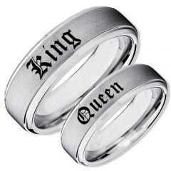 COI Tungsten Carbide King Queen Step Edges Ring-TG4045