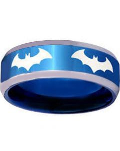 COI Tungsten Carbide Batman Beveled Edges Ring-TG3867