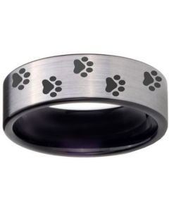 COI Tungsten Carbide Black Silver Paws Track Ring-TG4058