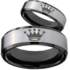 COI Tungsten Carbide Black Silver King Crown Ring-TG4074