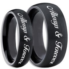 COI Black Tungsten Carbide Always & Forever Ring-TG4083