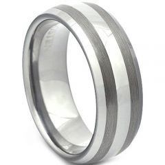 COI Tungsten Carbide Double Lines Dome Court Ring-TG4157