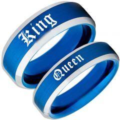 COI Tungsten Carbide Blue Silver King Queen Ring-TG4168
