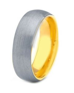 COI Tungsten Carbide Gold Tone Silver Dome Court Ring-TG4188