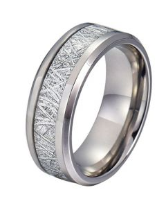 COI Tungsten Carbide Meteorite Beveled Edges Ring-TG4190