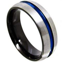 COI Tungsten Carbide Black Blue Center Groove Ring-TG4422