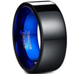 COI Tungsten Carbide Black Blue Pipe Cut Flat Ring-TG4426