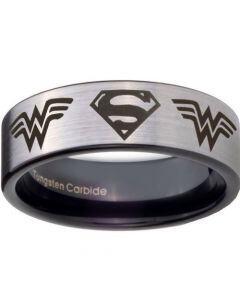 COI Tungsten Carbide Superman Wonder Woman Ring-TG4449