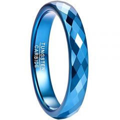 COI Blue Tungsten Carbide Faceted Ring-TG4493