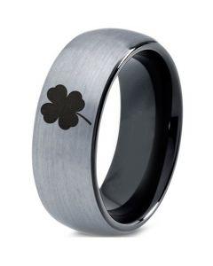COI Tungsten Carbide Black Silver Four Leaf Clover Ring-TG4543